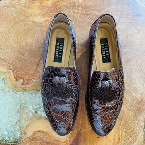 Stuart Weitzman Croc tassel loafers Vintage